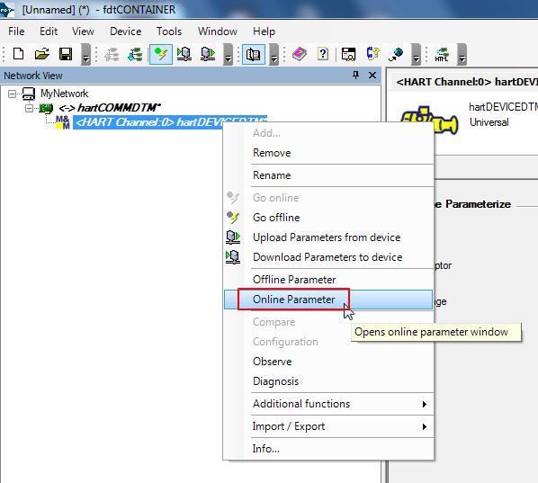 get online parameter for hart device