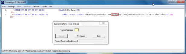 use framealyst to search out another hart5 device sw1 hw8 man101 dev204