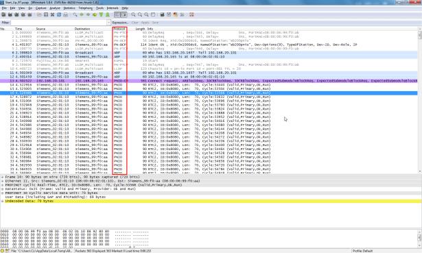 wireshark analyze protocol support PNIO of profinet