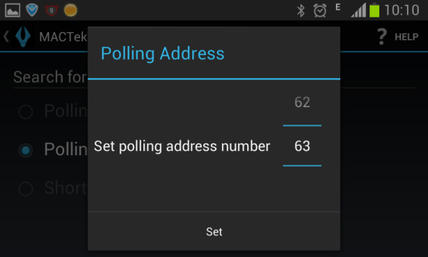 set polling address number from 63