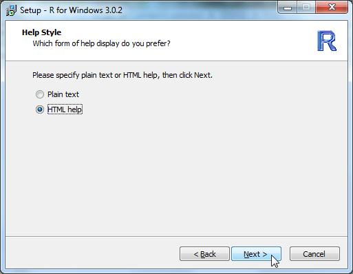 Setup R for Windows 3.0.2 help style HTML help