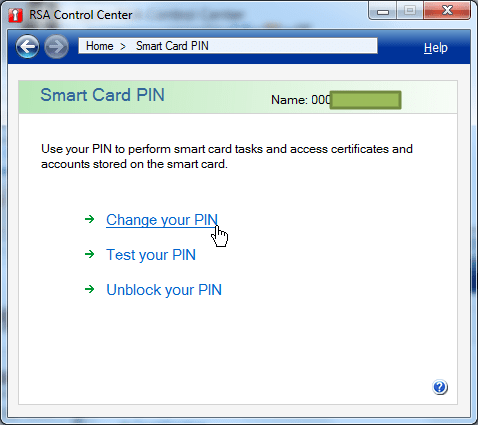 smart card pin click change your PIN