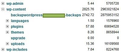wp-content backup-wordpress consume most space