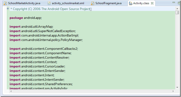 activity class not show real android 4.4.2 java sourcecode