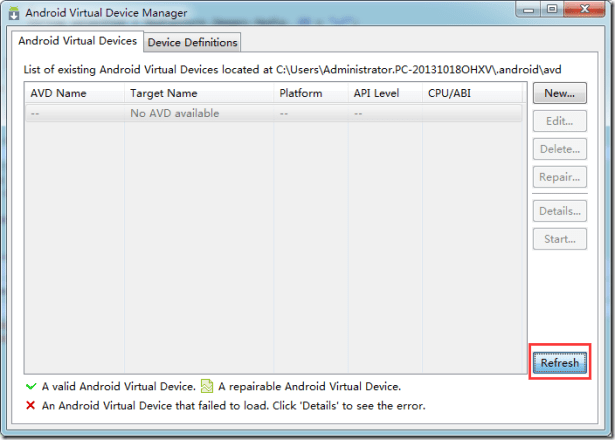 after kill and reboot adb avd manager refresh still not show device
