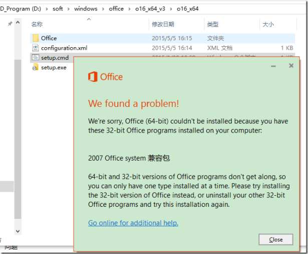 sorry for office 64 bit could not installed for 32-bit