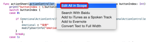 click list show choose Edit In All Scope
