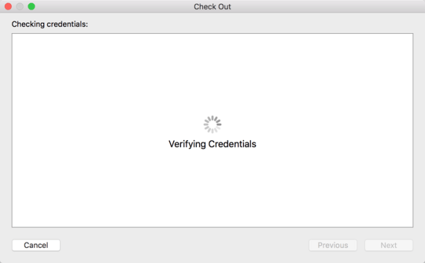verifying credentials for check out