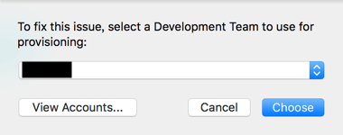 To fix this issue select a Development Team to use for provisioning