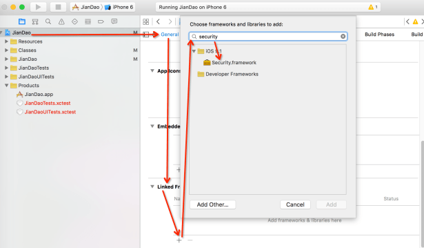 xcode choose project linked framework add search
