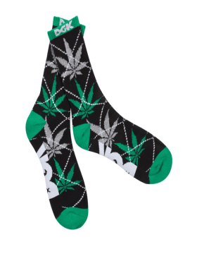DGK Stay Smokin' Argyle Socks in Black/Green