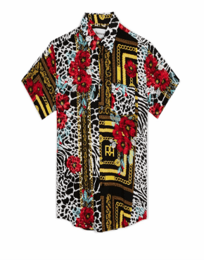 REASON King Floral and Chains Woven Shirt