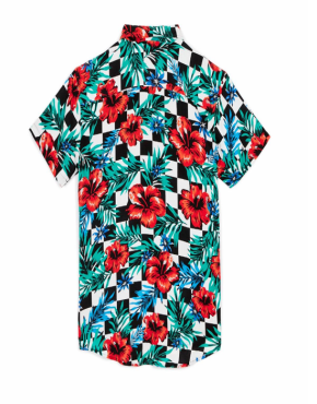 REASON King Floral Check Woven Shirt