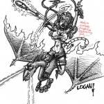An elf rides a lazer fire pterodrake