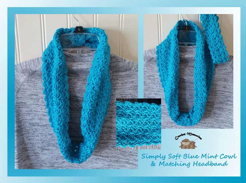 Simply Soft Blue Mint Cowl & Matching Headband