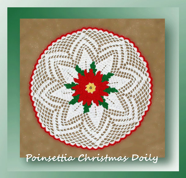 Free Online Christmas Crochet Afghan Patterns : Poinsettia Christmas Doily - Crochet Christmas Patterns ...
