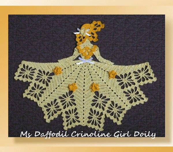 Free Daffodil Doily Crochet Pattern : Ms Daffodil Crinoline Girl Doily - Crochet Birthday ...