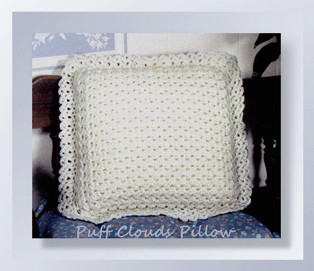 Free Filet Crochet Pillow Patterns : Puff Clouds Pillow - Crochet Pillow Patterns