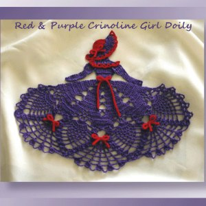 Red & Purple Crinoline Girl Doily