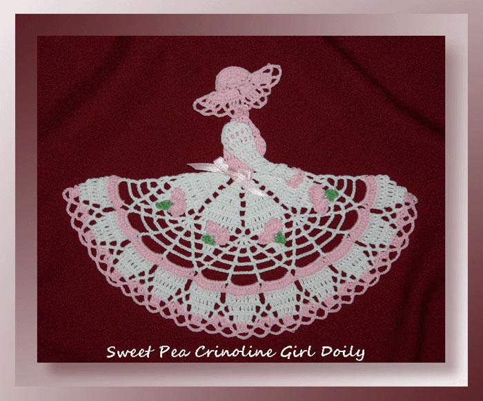 Sweet Pea Crinoline Girl Doily Crochet Birthday