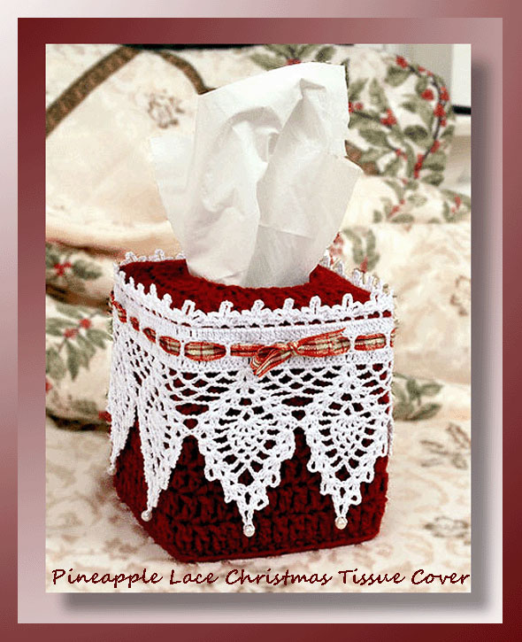 Pineapple Lace Christmas Tissue Cover Crochet Christmas