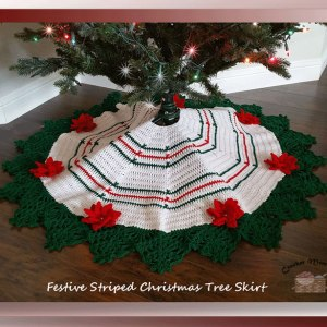 Festive Striped Christmas Tree Skirt