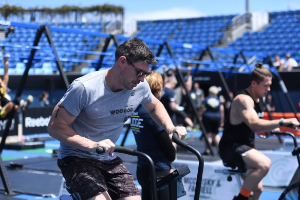 Matt giving the bike a good go at the CrossFit Affiliate Cup on the weekend. . Pic: The CrossFit Games