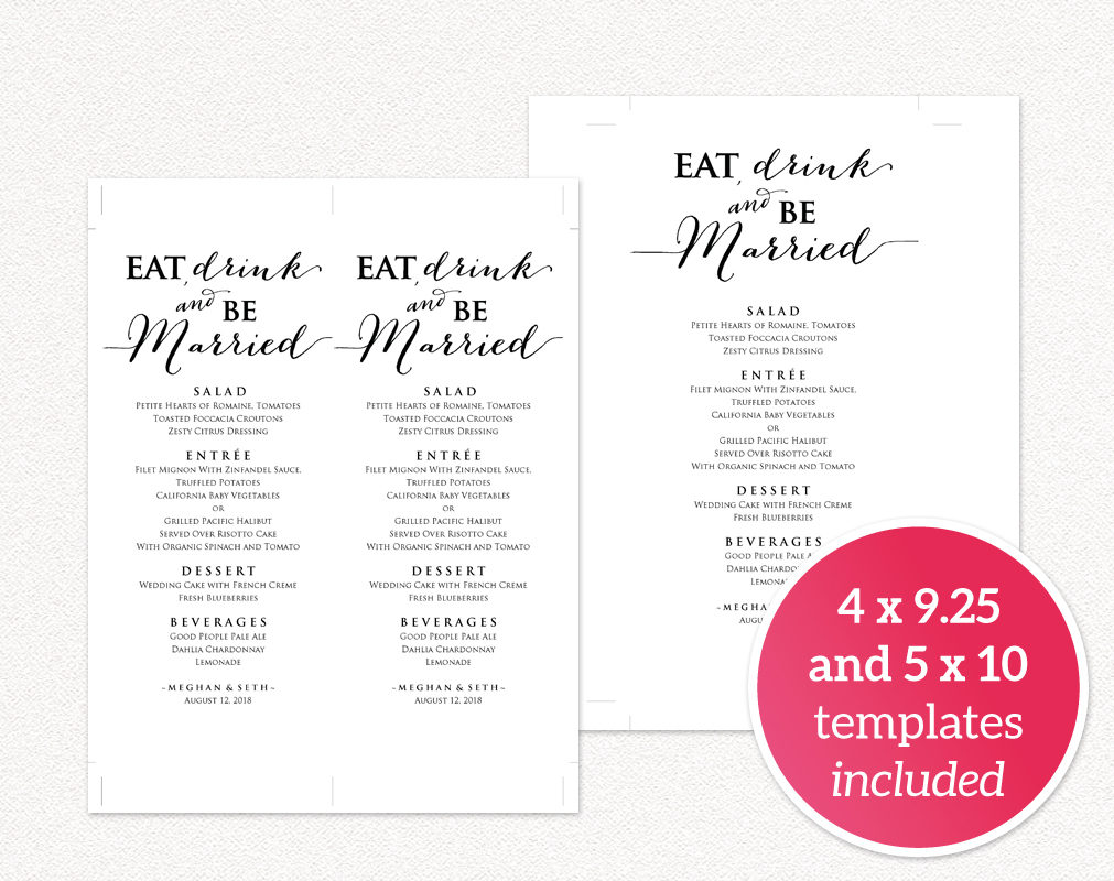 Formidable Printables Eat Drink Be Married Menu Wedding Templates Be Married Cutting Board Eat Drink Be Married Wine Glasses Eat Drink Be Married Menu Eat Drink inspiration Eat Drink And Be Married