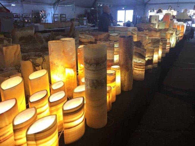Travertine lamps