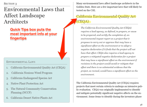 Pass the California Supplemental Exam for Landscape Architects Study Guide Environmental Laws Example
