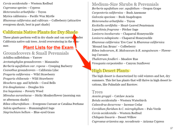 Pass the California Supplemental Exam for Landscape Architects Study Guide Plant Lists