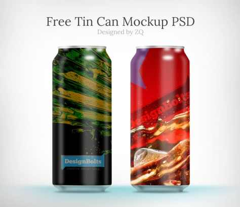 Free Juice & Cold Drink Tin Can Mock up PSDs