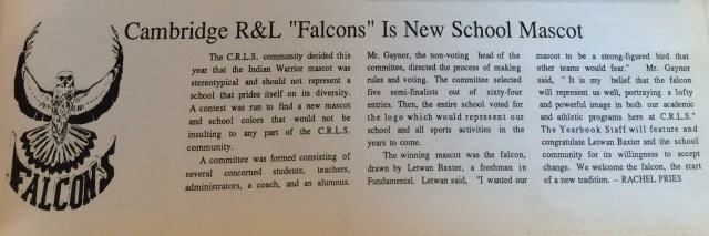 1990 was the school in which the new mascot, the Falcon, was launched.