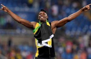RIO DE JANEIRO, BRAZIL - AUGUST 19:  Usain Bolt of Jamaica reacts after winning the Men's 4 x 100m Relay Final on Day 14 of the Rio 2016 Olympic Games at the Olympic Stadium on August 19, 2016 in Rio de Janeiro, Brazil.  (Photo by Quinn Rooney/Getty Images)