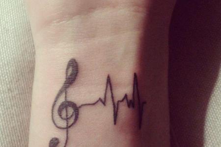 47 music tattoo on wirst