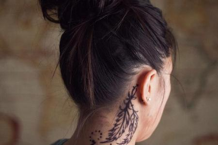 36 feather tattoo on neck