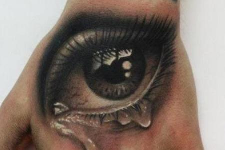 27 realistic eye on hand with tear