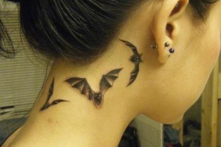 15 cute bat tattoos on neck