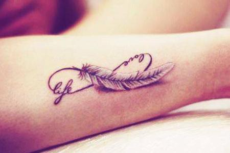 2 feather infinity tattoo