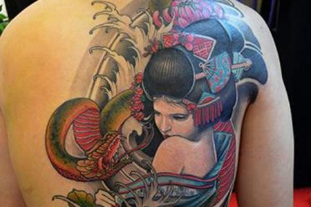 21 anese kabuki tattoo on back