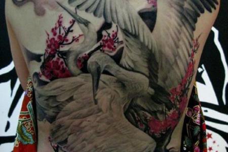 25 anese crane tattoo