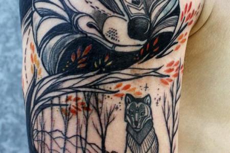 48 fox arm tattoo