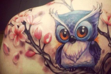 14 owl and flower tattoo1