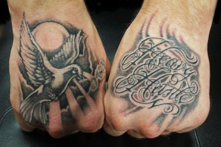 25 hand tattoos dove and script
