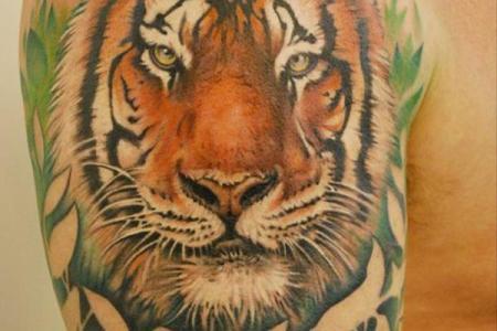 34 quarter sleeve tiger tattoo