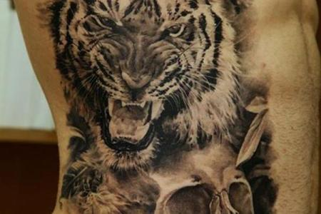 9 tiger and skull tattoo