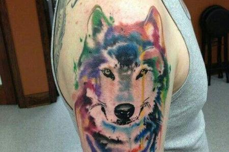 9 watercolor wolf tattoo