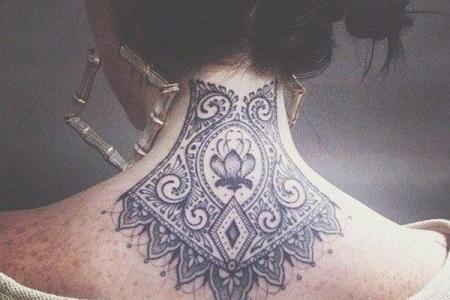 10 lace tattoo on neck