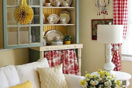 yellow and red cottage style living room decor