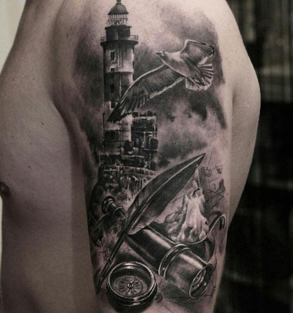 30+ Lighthouse Tattoo Ideas of 25 by Daniel